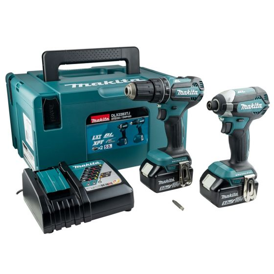 Makita 18v Brushless Twin Pack C/w 2 X 5.0a MAKDLX2283TJ   This brushless kit is made up of the Makita DHP485 Combi Drill and the Makita DTD153 Impact Driver.   toolforce.ie