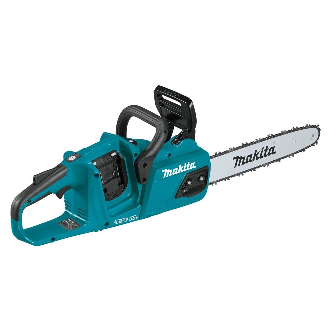 Makita 18v Twin Brushless Chainsaw 14 Body MAKDUC355Z | Eliminating the need to mix fuel and 2-stroke oil the saw is also quiet and starts at the press of a button. | toolforce.ie