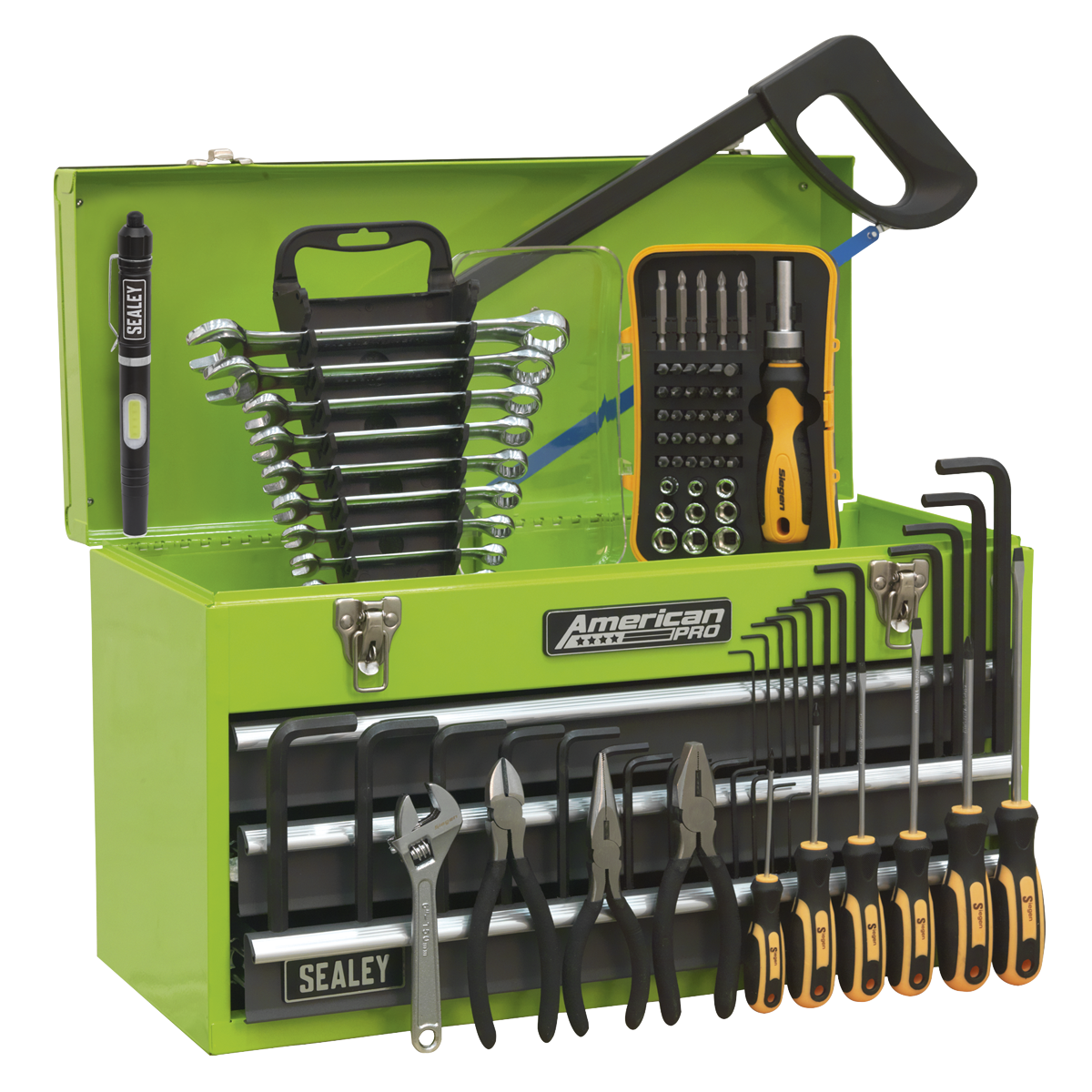 Sealey Portable Tool Chest 3 Drawer With 93pc Tool Kit AP9243GGHVCOM | Sealey American Pro Top Box | 3 roller bearing drawers | toolforce.ie