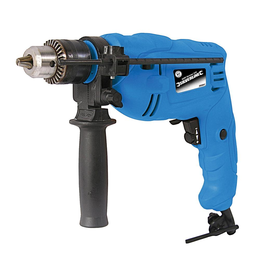 Silverline 500W Hammer Drill 265897, Compact, versatile drill with 1.5-13mm keyed chuck | Toolforce