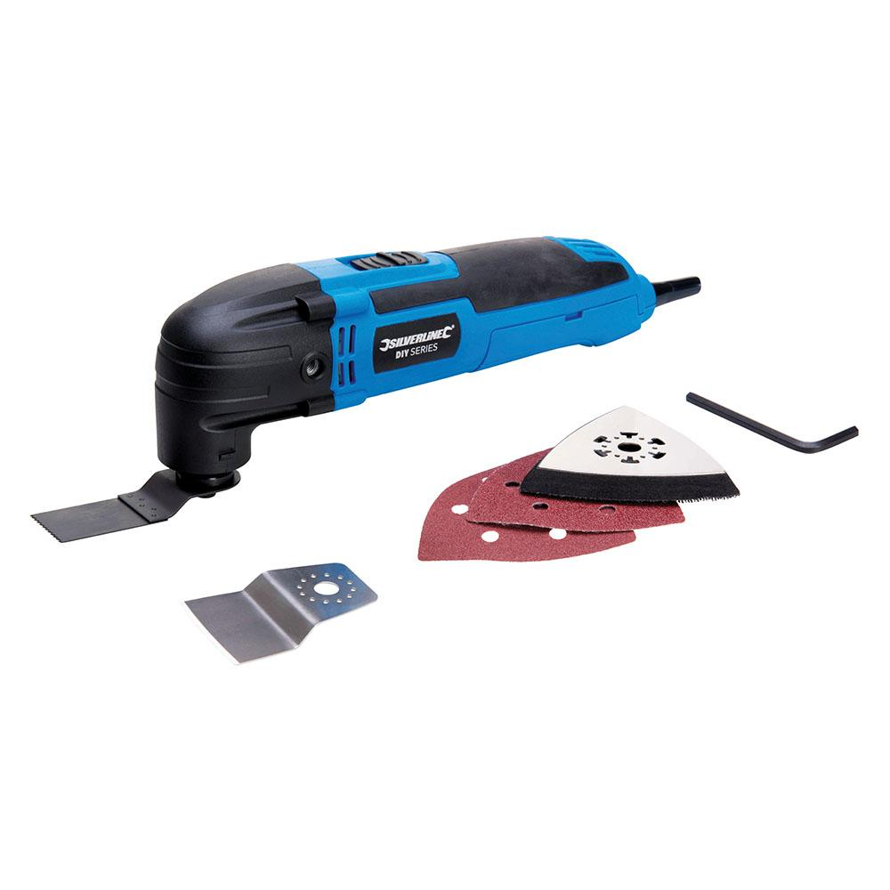 Silverline DIY Multi Tool 300w 430787, Versatile, corded oscillating tool with 6-stage variable speed adjustment | Toolforce