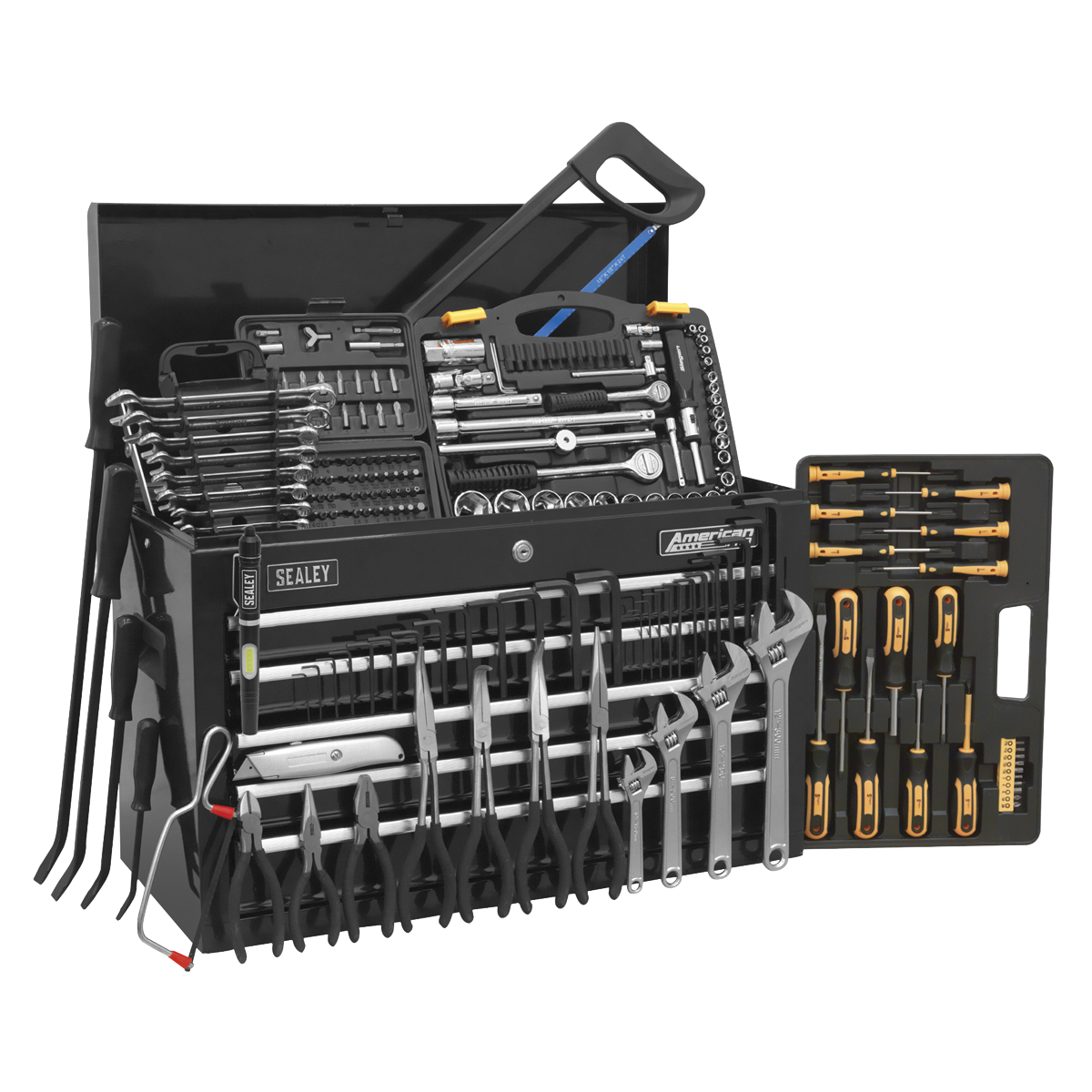 American PRO® 5 Drawer Topchest Part Number AP225B with 230pc Tool Kit. Tools included - Model No's: AK206, LED016, S0433.