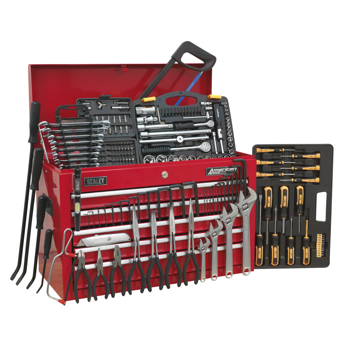 American PRO® 5 Drawer Topchest Part Number AP225 with 230pc Tool Kit. Tools included - Model No's: LED016, S0433.