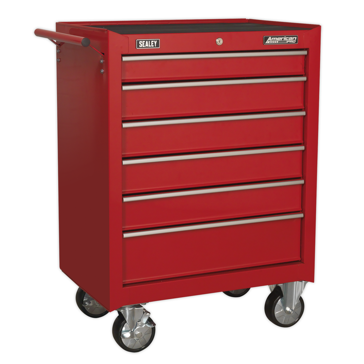 Sealey Rollcab 6 Drawer with Ball-Bearing Slides - Red AP226 | Features smooth 45mm ball-bearing drawer slides and a cylinder lock with locking bar to secure the drawers in place for additional security. | toolforce.ie