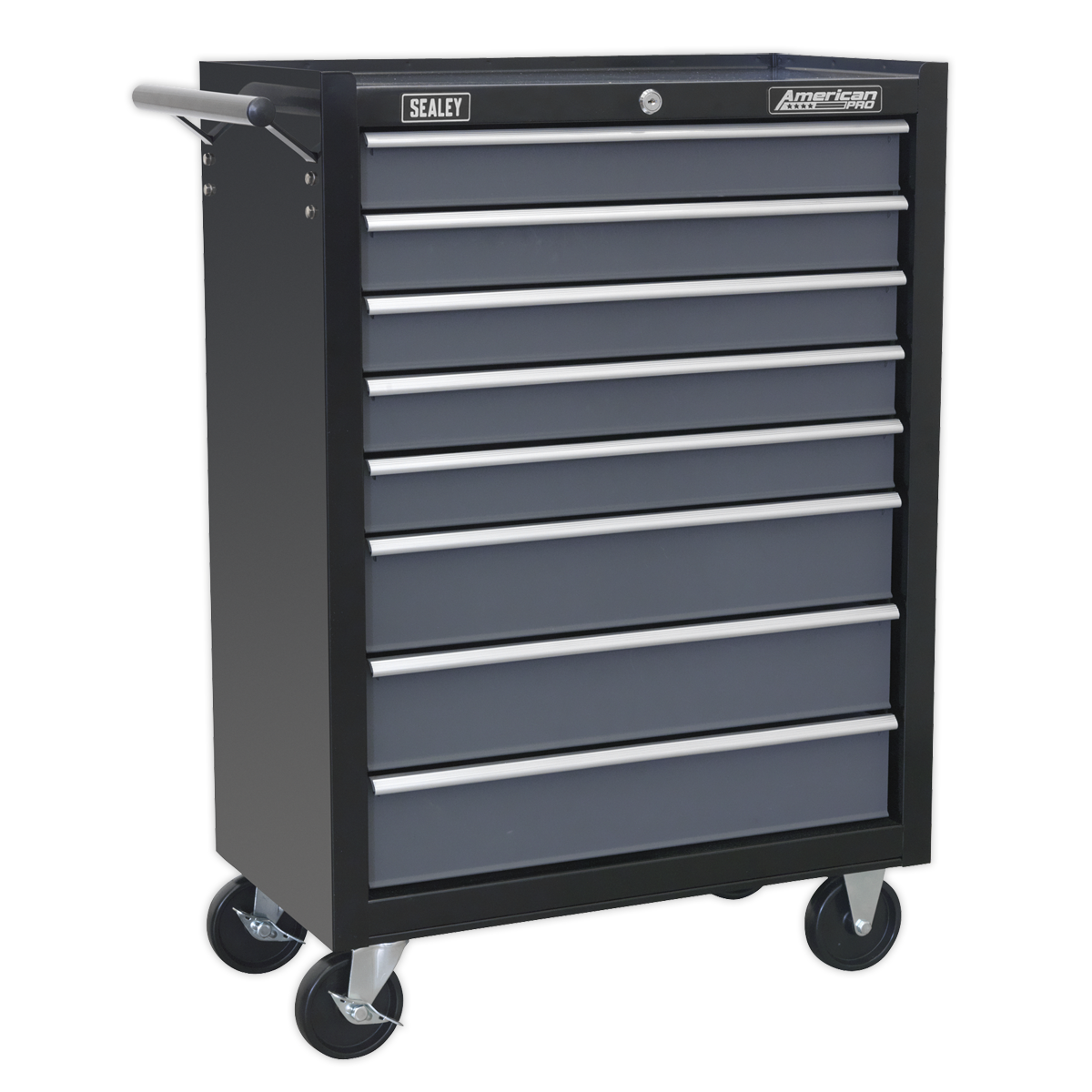 Sealey Rollcab 8 Drawer with Ball Bearing Slides - Black/Grey AP3508TB | Manufactured with double skin side walls for extra strength and finished in smooth, hi-gloss, triple baked enamel. | toolforce.ie