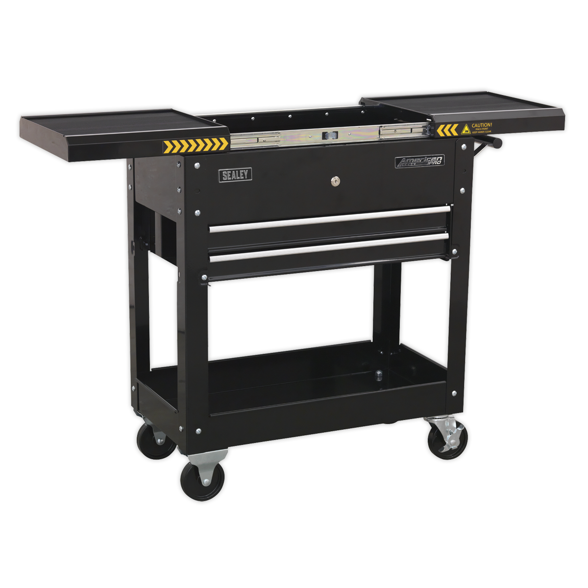 Sealey Mobile Tool & Parts Trolley - Black AP705MB | Heavy gauge steel construction with lockable sliding top on smooth ball bearing slides. | toolforce.ie