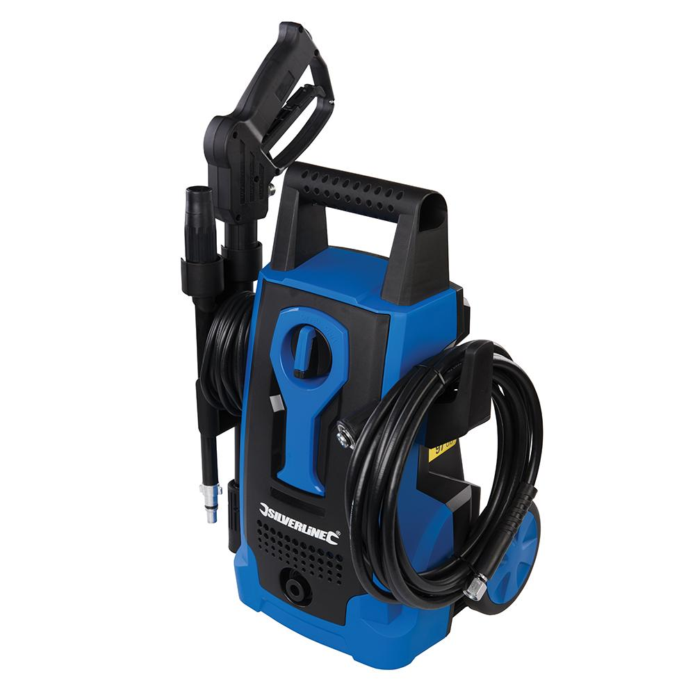 Silverline 1400W Pressure Washer 105bar Max 834832, High power compact pressure washer with air-cooled induction motor for reliability and energy efficiency   Toolforce