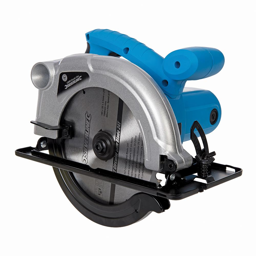 Silverline DIY 1200W Circular Saw 185mm 845135, Circular saw with fast-cutting tungsten carbide-tipped 24T 185mm dia blade.