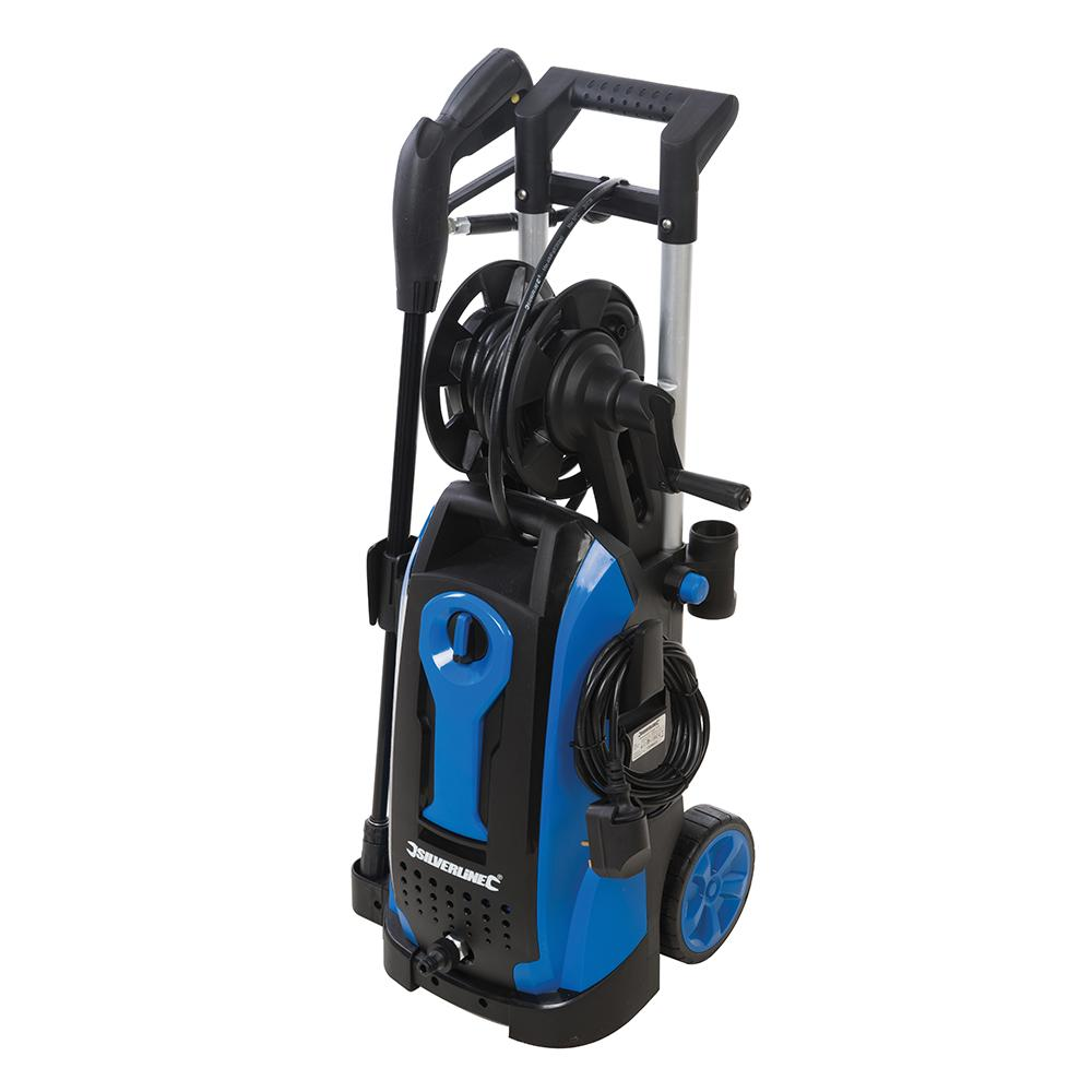 Silverline 2100W Pressure Washer 165Bar 943676, Air-cooled induction motor with auto stop/start feature   Toolforce