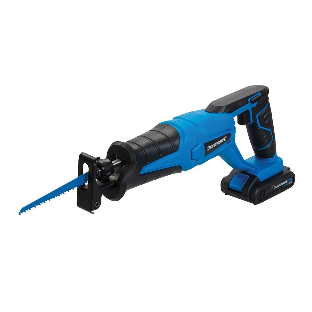 Silverline 18V Reciprocating Saw 953452, Powerful 18V 2Ah reciprocating saw with variable speed trigger and safety lock | Toolforce