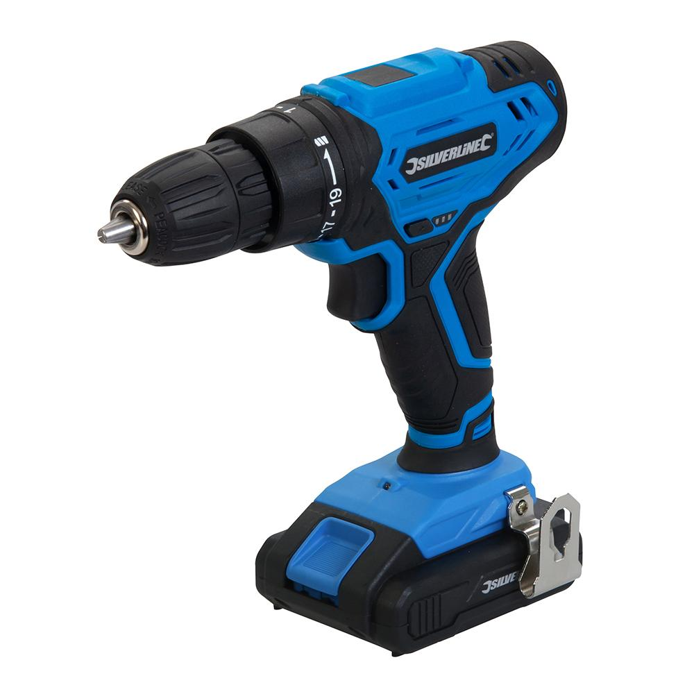 Silverline 18V Drill Driver 975325, Combination drill and screwdriver with a 10mm keyless chuck and 19 torque settings | Toolforce