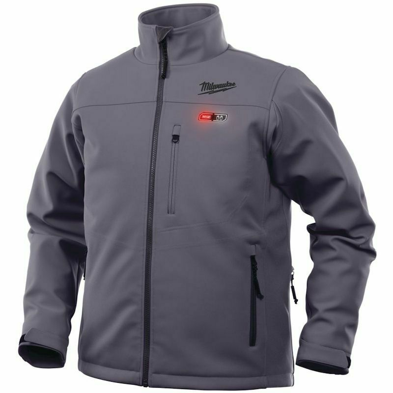 MILWAUKEE M12 GREY PREMIUM HEATED JACKET LARGE M12HJGREY5-0(L), The 5 sewn in carbon fibre heating zones, distributes heat to core body areas and to the front pockets.