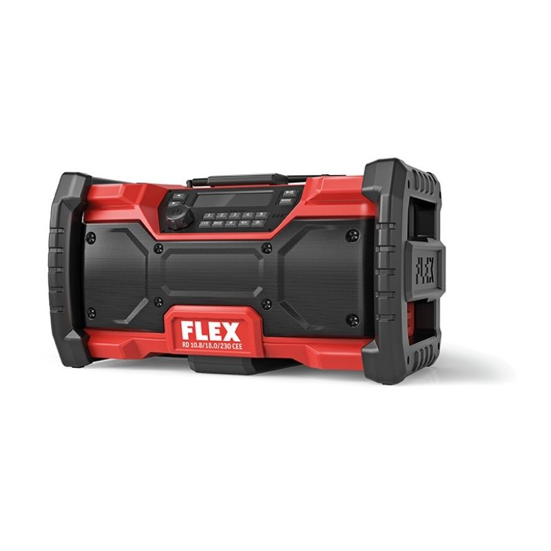 Flex Digital 10.8 / 18.0 V cordless radio RD 10.8/18.0/230 CEE | Robust construction site radio, for receiving DAB+ and FM | toolforce.ie