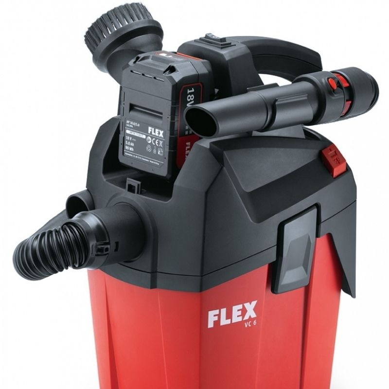 Flex Battery Pack VC 6 L MC 18.0 | Very compact, handy and light vacuum cleaner with carrying strap for mobile use. The compact design means it fits in all vehicles | toolforce.ie