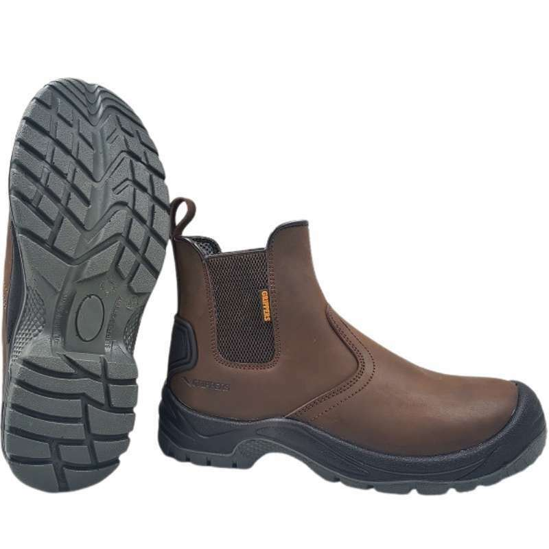 Grippers Brown Dealer Work Boots Size 10 (9026)   These Grippers steel toe mid weight Safety Boots come with removable insoles and elastic gusset for ease of fit.   toolforce.ie
