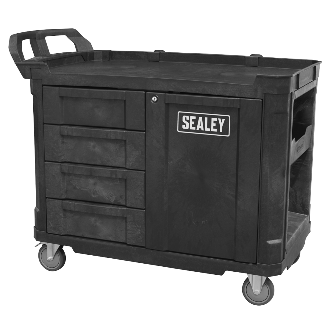 Sealey Mobile Work Station With Tool Storage AP47PWS | Sheet metal drawers with structural foam fronts run on ball bearing drawer slides. | toolforce.ie