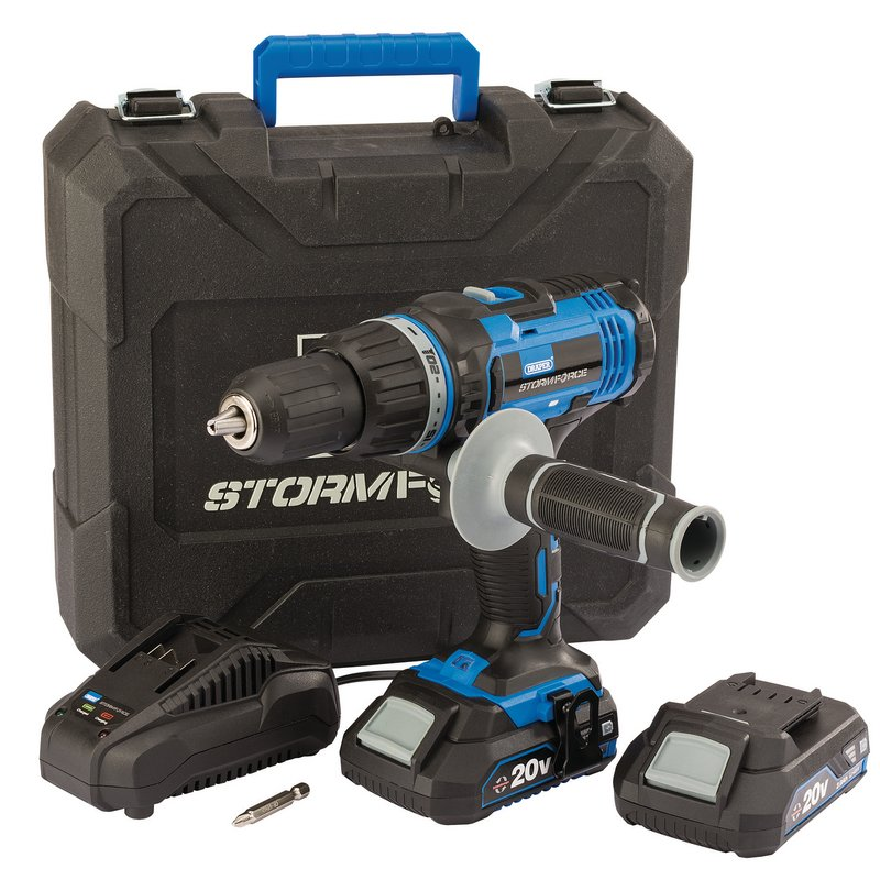 Draper Storm Force 20V Combi Drill With 2 X 2.0AH Batteries And Charger 89523 | 22 torque control positions and hammer action. | toolforce.ie