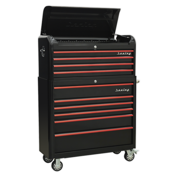 Sealey Retro Style Tool Chest BLACK AP41COMBOBR | Extra-wide retro styled topchest with modern day functionality. | toolforce.ie