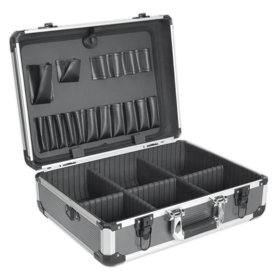 SEALEY HEAVY DUTY ALUMINIUM TOOL CASE AP610   Includes internal movable dividers allowing case to be used for many applications such as tools, diagnostic equipment, specialist tools   toolforce.ie