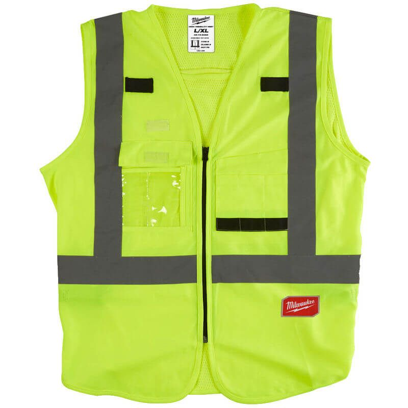 Milwaukee Hi-Vis Vest Yellow, Harness tethering hole - ideal to fit over harness to add more safety on the jobsite.