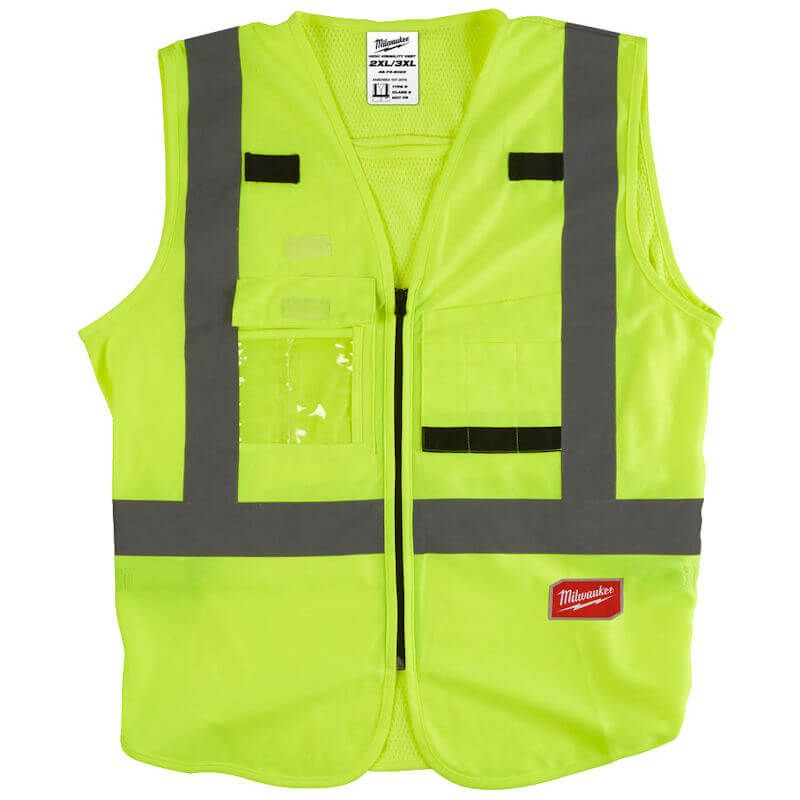 Milwaukee Hi-Visibility Vest Yellow, Harness tethering hole - ideal to fit over harness to add more safety on the jobsite.