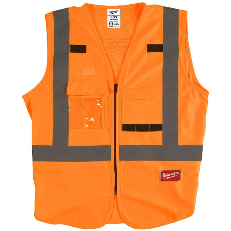 Milwaukee Hi-Visability Vest Orange, Harness tethering hole - ideal to fit over harness to add more safety on the jobsite.