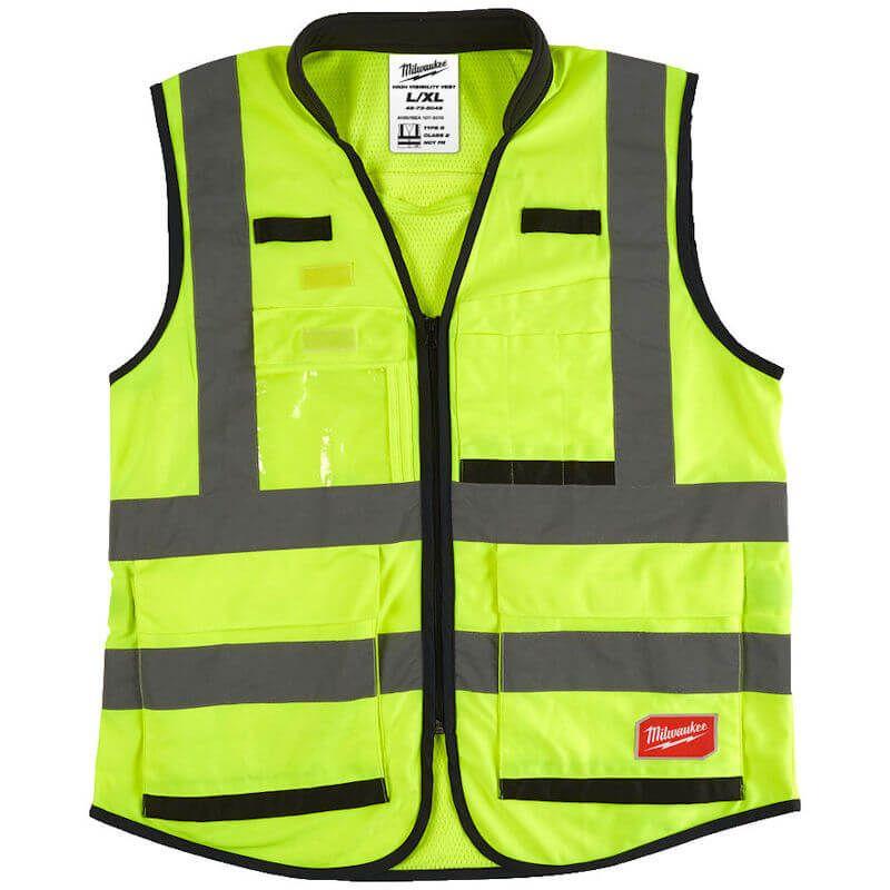 Milwaukee Premium Hi-Visibility Vest, 1 clear ID badge holder for easy identification on the jobsite.