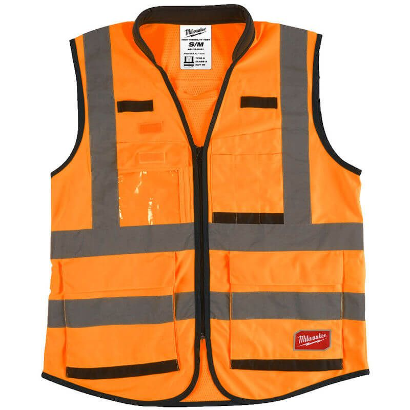 Milwaukee Hi-Visibility Orange Vest, Padded collar for greater comfort during long-term wear.