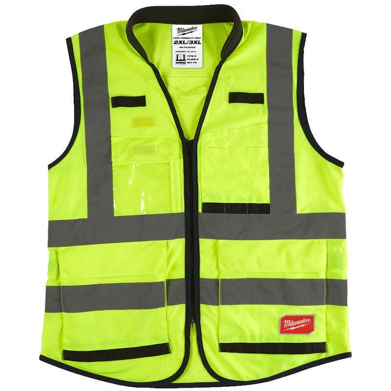 Milwaukee Premium Hi-Vis Vest, Padded collar for greater comfort during long-term wear.