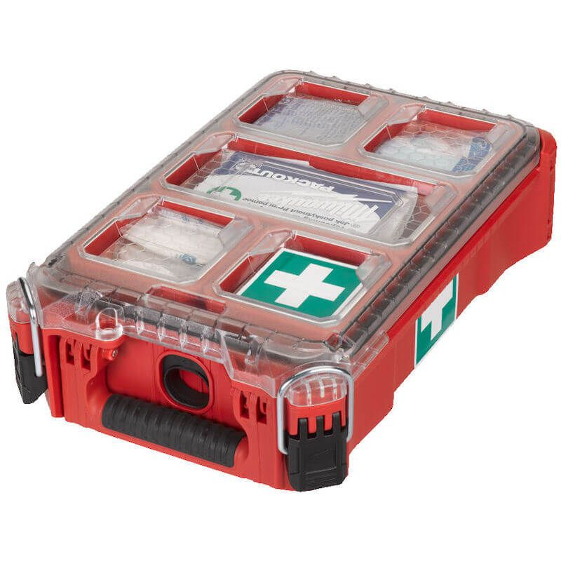Milwaukee Packout First Aid Kit BS8599   Quickly identifiable during an emergency due to red coloured PACKOUT™ Compact Organiser.   toolforce.ie