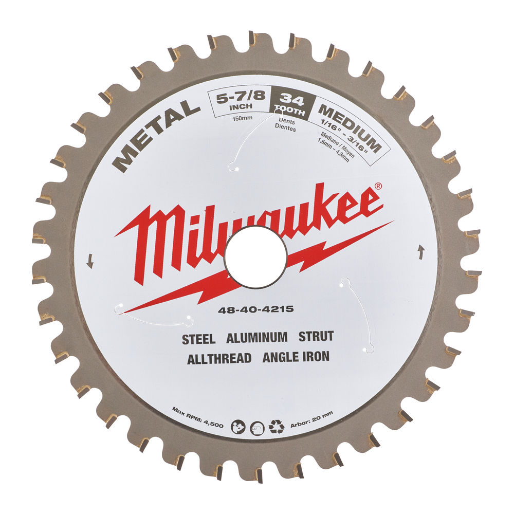 Milwaukee Metal Circular Saw Blade 5-7/8Inch 34 Tooth, For use on Steel, Aluminum,Unistrut,Threaded Rod and Angle Iron.
