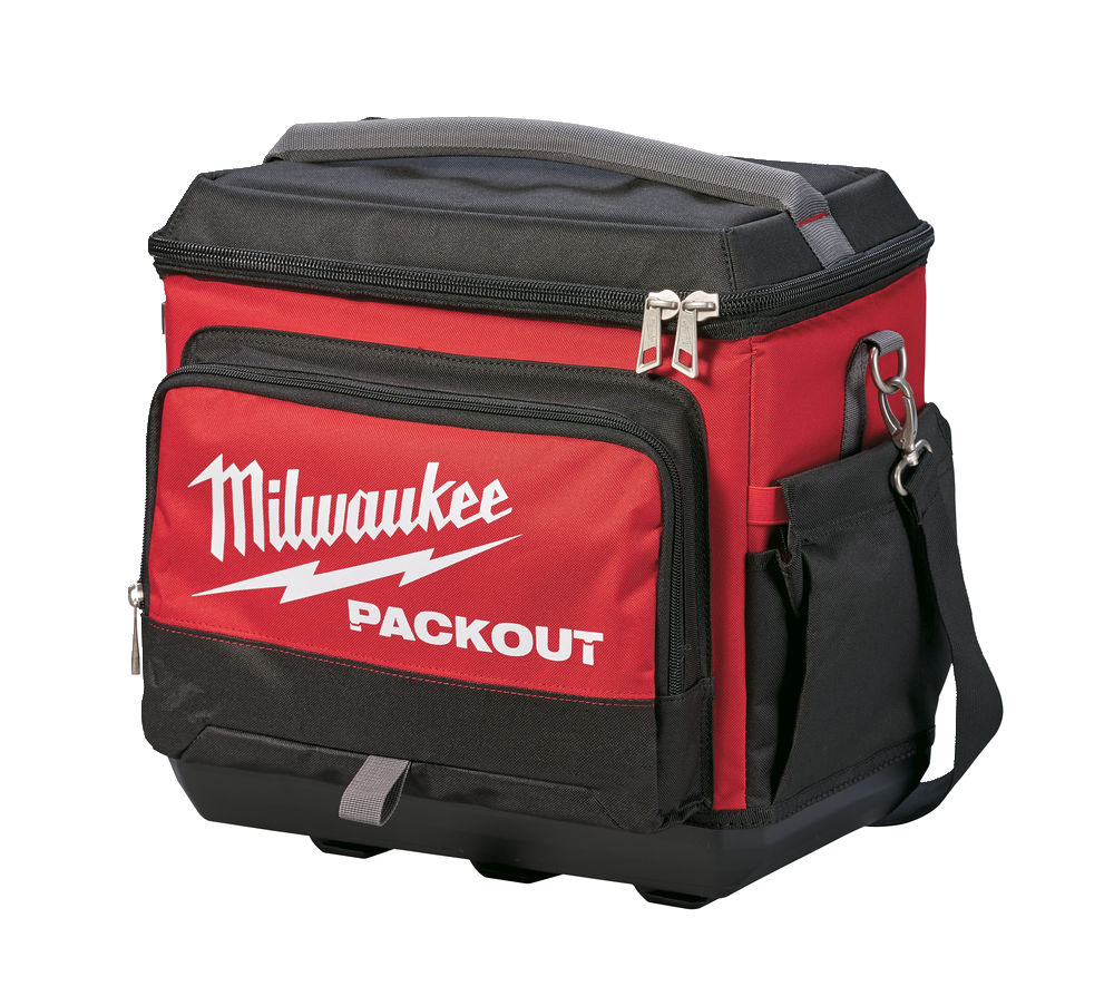 Milwaukee Packout Jobsite Cooler 4932471132, Impact resistant polymer base protects contents from water and dirt and also allows backpack to stand up.