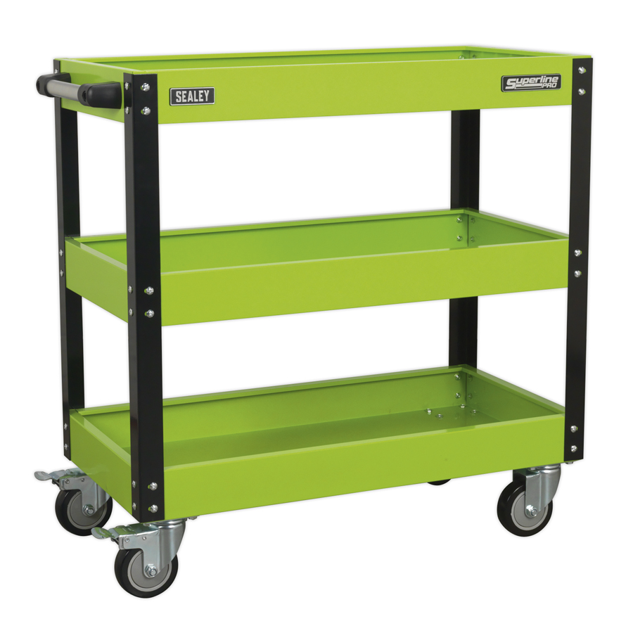 Sealey 3 Level Heavy-Duty Workshop Trolley CX110HV | Ideal for storage of regularly used workshop items, accessories and tools. | toolforce.ie