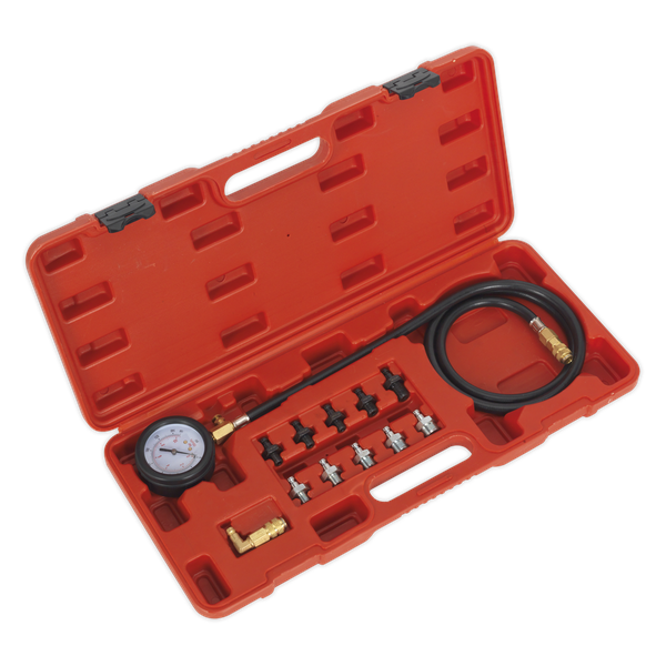 Oil Pressure Test Kit 12pc | Ø65mm Gauge fitted with heavy-duty cover. | toolforce.ie
