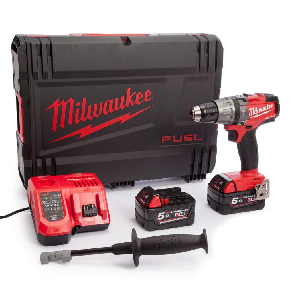 MILWAUKEE M18 FUEL PERCUSSION DRILL KIT M18FPD-502X | Milwaukee® designed and built brushless POWERSTATE™ motor for up to 10x longer motor life and up to 60% more power.
