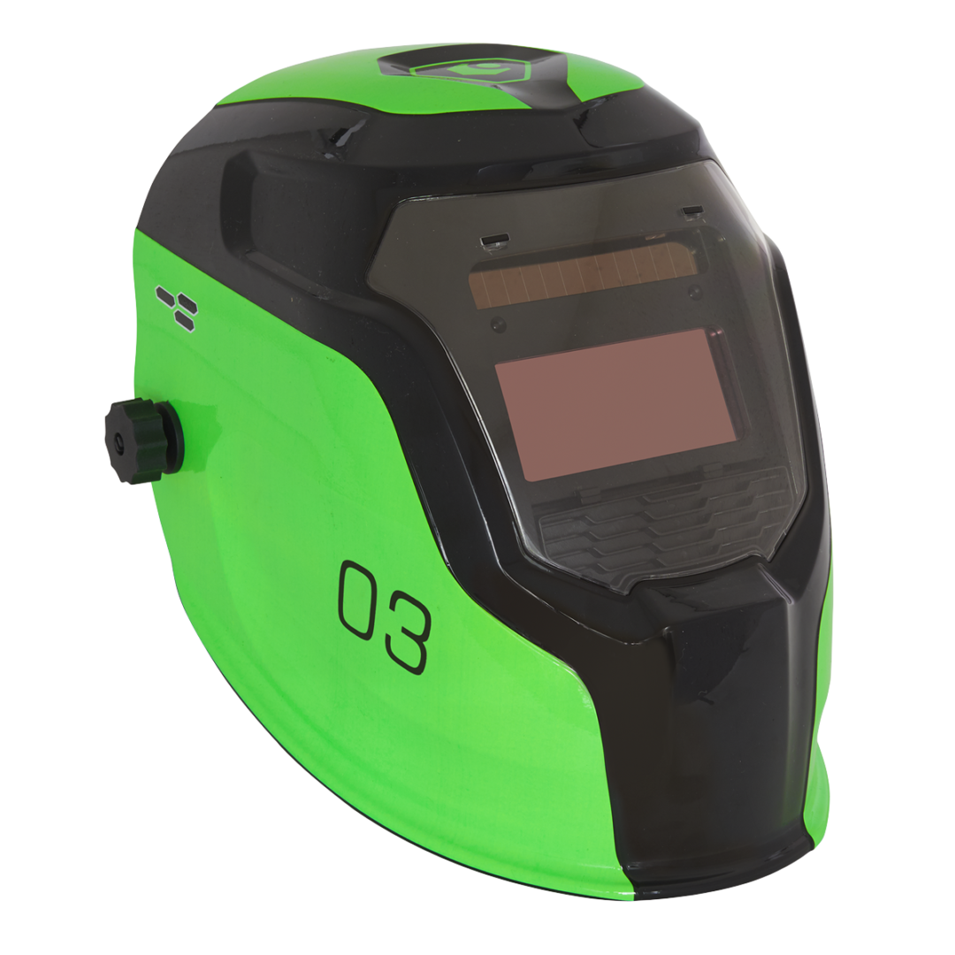 Sealey Welding Helmet Auto Darkening Shade 9-13 Green PWH3   True colour technology for improved depth perception, allowing far greater welding precision.   toolforce.ie