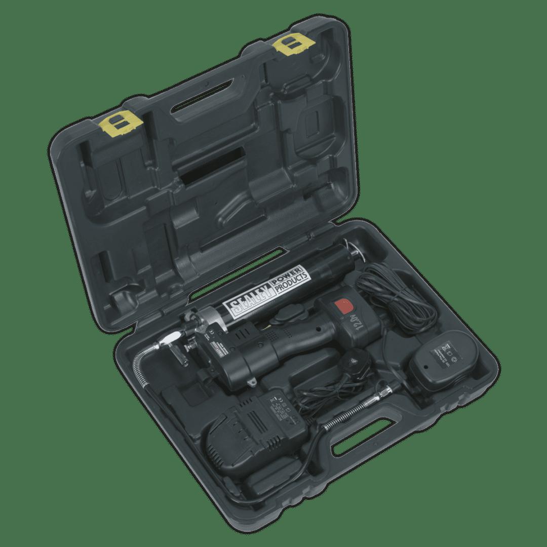 SEALEY 12V CORDLESS GREASE GUN CPG12V   Suitable for 400g cartridges, manual or bulk filling.   toolforce.ie