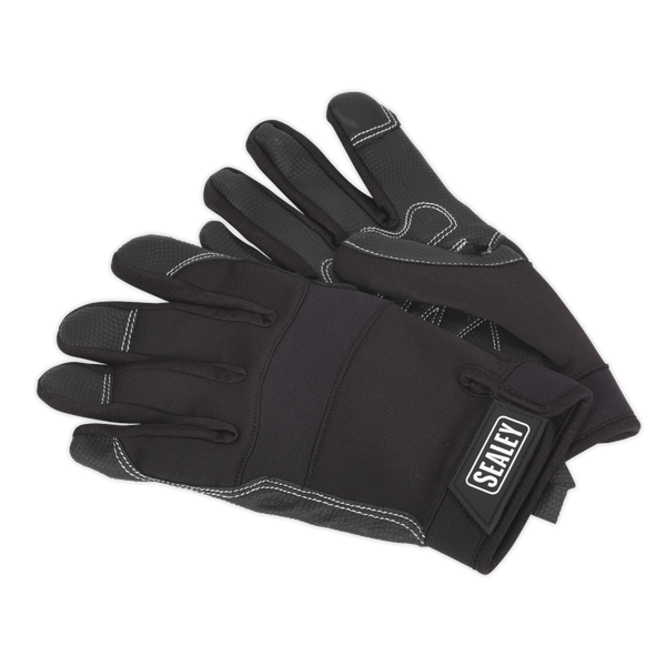 Sealey Mechanic's Gloves Light Palm Tactouch - Large MG798L   Precision control when working with small fixings and tools.   toolforce.ie