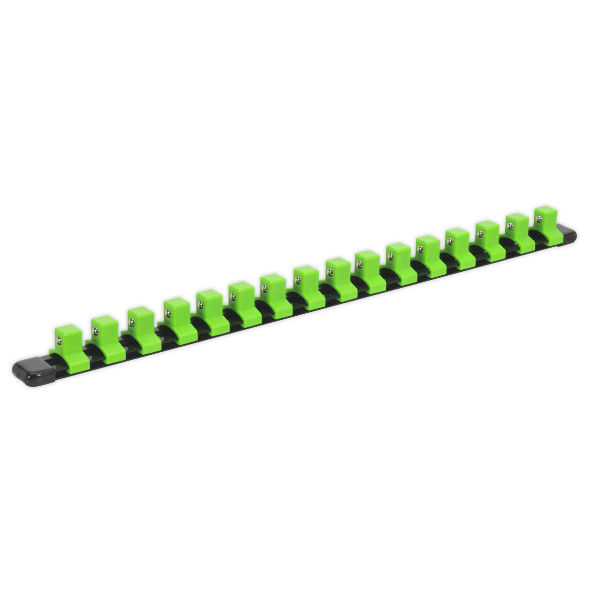 """Socket Retaining Rail with 16 Clips 1/2""""Sq Drive - Hi-Vis Green   Aluminium socket rail with hi-vis green nylon clips.   toolforce.ie"""