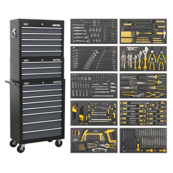Siegan 420 Piece Tool Kit and Chest Set AP35TBCOMBO Manufactured with double skin side walls for extra strength and finished in smooth, hi-gloss, triple baked enamel.