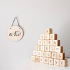 Alphabet Blocks lowercase letters. Page and Pine. Round circle plaque of elephants on wall.