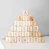 Alphabet Set Uppercase letters. Natural Raw Timber.