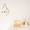 Natural wooden Milestone Blocks - 7 months. Heart. Round Elephant Plaque. Page and Pine
