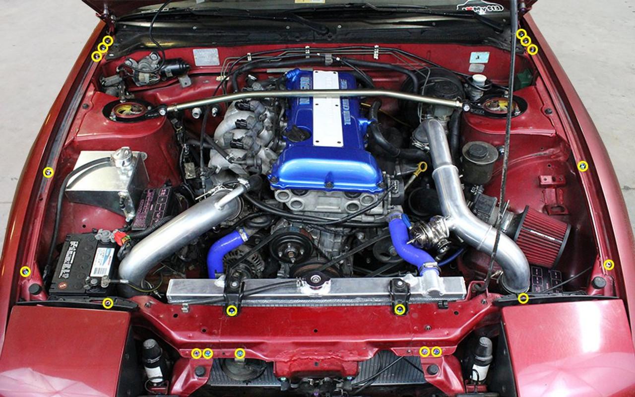 Dress Up Bolts Titanium Partial Engine Bay Kit For Nissan Silvia S13 1989 1994 Enjuku Racing Parts Llc