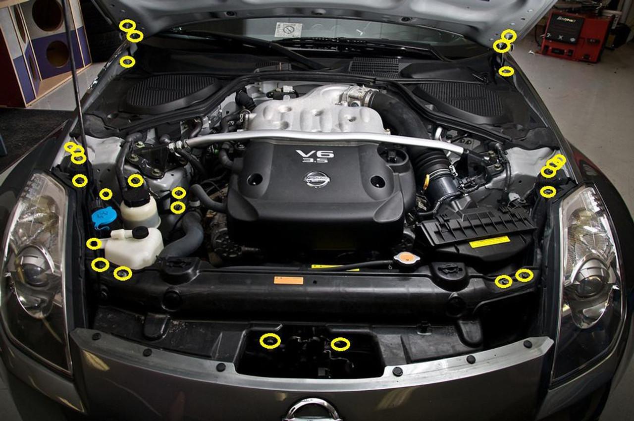 Dress Up Bolts Titanium Engine Bay Kit For Nissan 350z 2003 2006 Z33 Enjuku Racing Parts Llc
