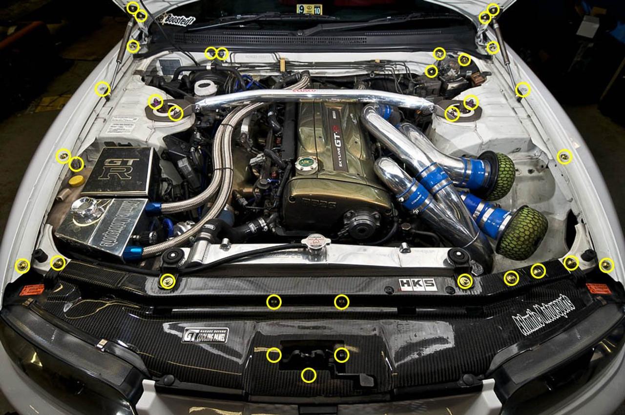 e46 engine bay diagram dress up bolts titanium engine bay kit for nissan skyline r33  dress up bolts titanium engine bay kit