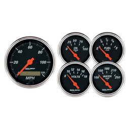 Speedometer 3 3//8 /& 2 1//16 Designer Black Elec 5 Pc AUTO METER AutoMeter 1440 Gauge Kit