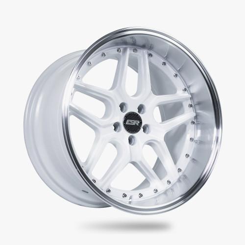 ESR Wheels CS15 18X8.5 5X112 +35 GLOSS WHITE FACE MACHINED LIP