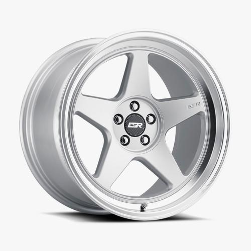 ESR Wheels CR5 18X9.5 5X120 (CUSTOM DRILL) +15 72.56 HYPER SILVER FACE MACHINED LIP