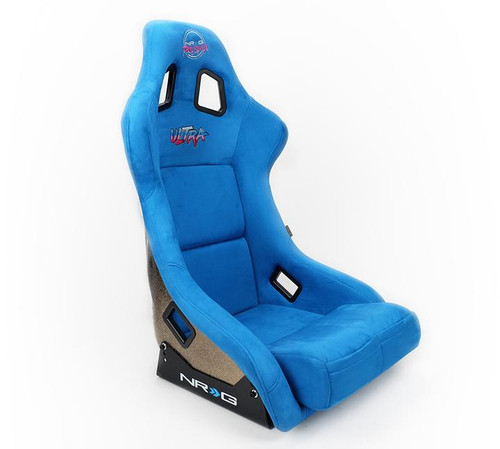 NRG FRP Bucket Seat ULTRA Edition - Large (Blue Alcantara/Gold Glitter Back)